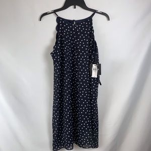 by & by dress navy polka dot NWT Large scalloped spaghetti strap